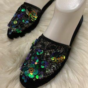 Free People Womens Mesh Sequins Sandals Black 37